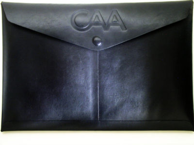 Custom black legal size envelope with covered snap